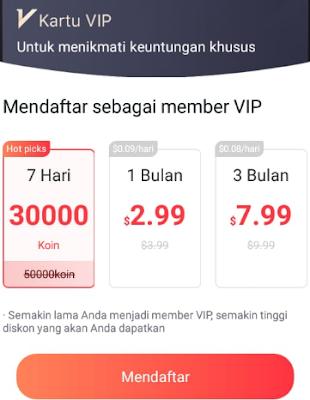 Daftar Akun VIP Aplikasi GoNovel Apk   Bagi Anda yang ingin menggunakan Aplikasi GoNovel Apk dengan penghasilan yang jauh lebih besar keuntungnnya, Anda dapat melakukan upgrade Akun VIP Aplikasi GoNovel Apk. Daftar akun VIP Aplikasi GoNovel Apk yaitu sebagai berikut : Akun VIP Hot Picks : Membeli akun VIP Aplikasi GoNovel Apk ini menggunakan stok koin yang telah Anda kumpulkan dan bonus koin dari mengundang teman Akun VIP 1 Bulan Dengan Penghasilan 0.09 Dollar pehari : Membeli akun VIP Aplikasi GoNovel Apk ini Anda harus melakukan deposit saldo sebesar 2.99 Dollar Akun VIP 3 Bulan Dengan Penghasilan 0.08 Dollar pehari : Membeli akun VIP Aplikasi GoNovel Apk ini Anda harus melakukan deposit saldo sebesar 7.99 Dollar Membeli akun VIP Aplikasi GoNovel Apk sangat cocok bagi Anda yang tidak sabar dengan penghasilan kecil di Aplikasi GoNovel Apk. Tapi Ingat, resiko membeli akun VIP Aplikasi GoNovel Apk mungkin saja terjadi karena tidak Ada jaminan Aplikasi GoNovel Apk Tidak akan SCAM.  Cara Daftar Aplikasi GoNovel Penghasil Uang Dollar