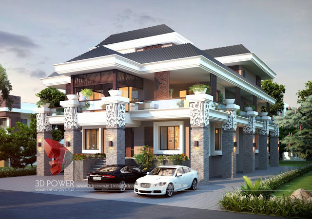 Stunning Ultra-Modern Villa Elevation & its 3D Rendering