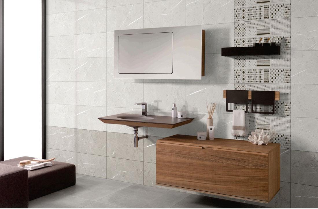 Light grey bathroom tiles