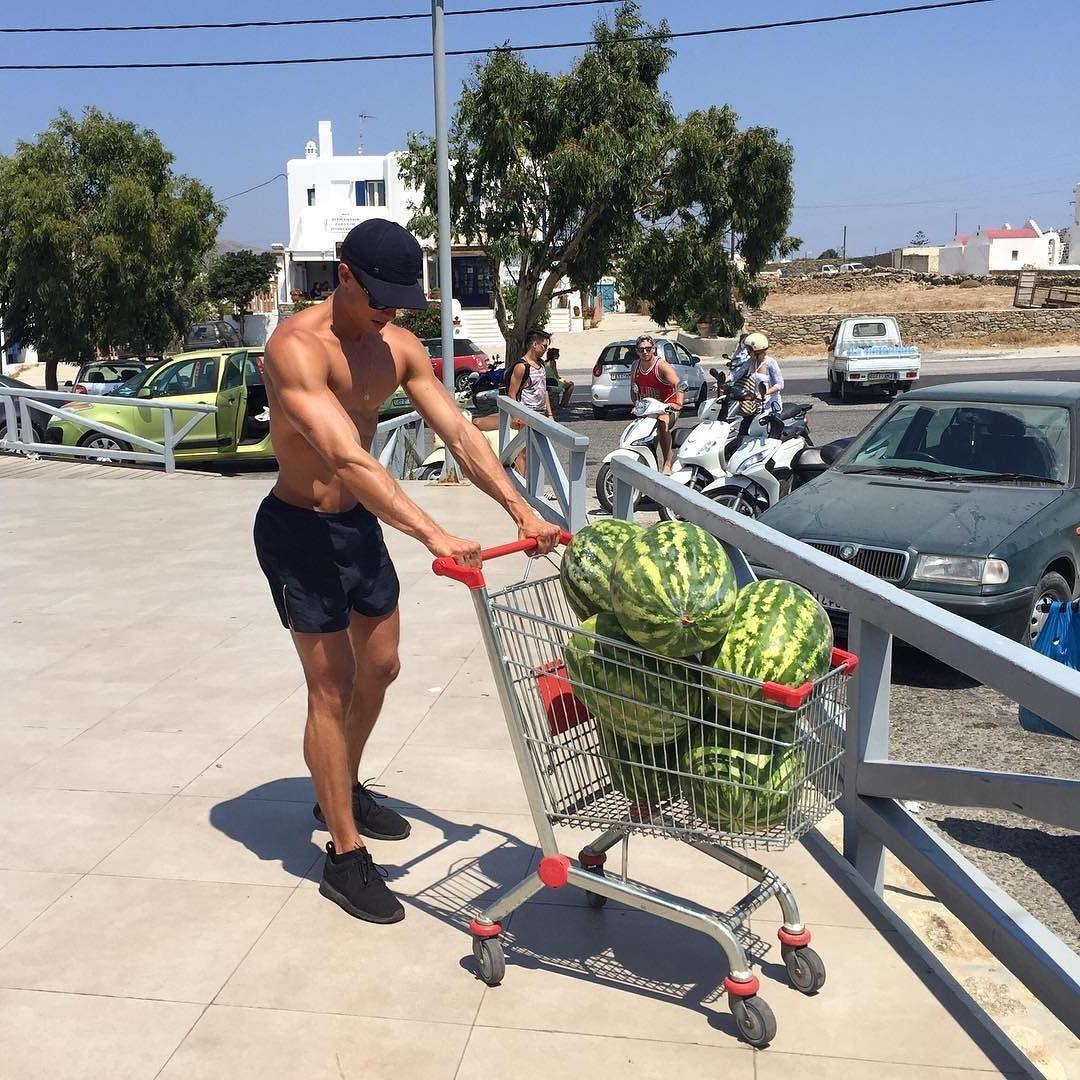 cute-fit-shirtless-watermelon-boy-summer-body-dude