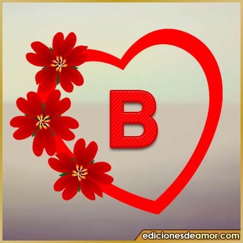 corazón de flores con letra B
