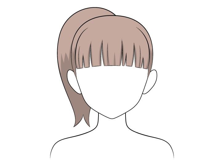 Shading rambut kuncir kuda anime