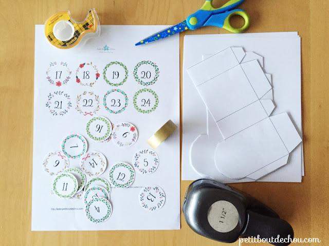 DIY Christmas advent calendar printable  craft supplies