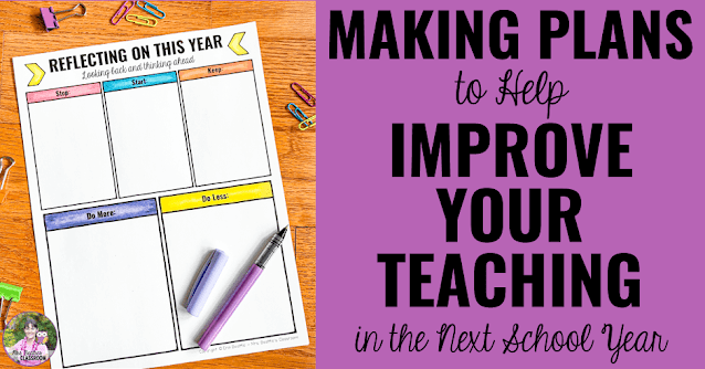 """Photo of free reflection page with text, """"Making Plans to Help Improve Your Teaching in the Next School Year."""""""