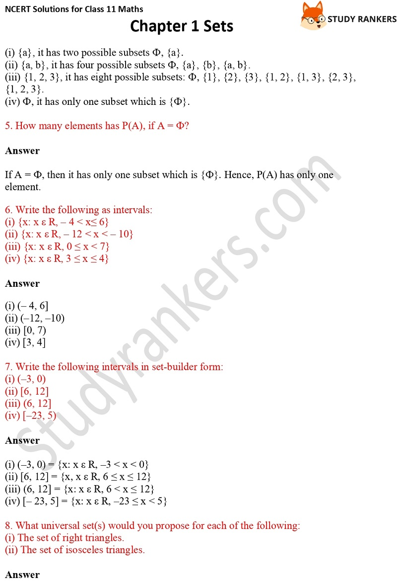 NCERT Solutions for Class 11 Maths Chapter 1 Sets 8