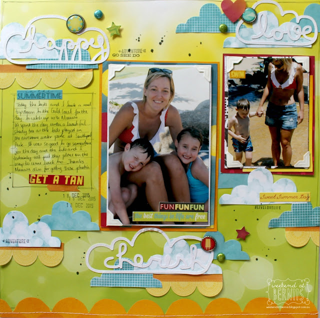 """Happy"" layout by Bernii Miller using the BoBunny Lemonade Stand collection."