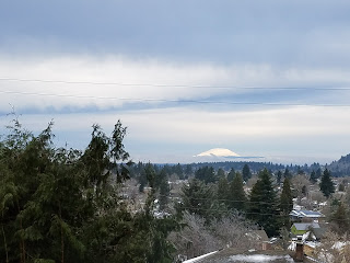 snowy Mount St Helens view from Portland, Oregon