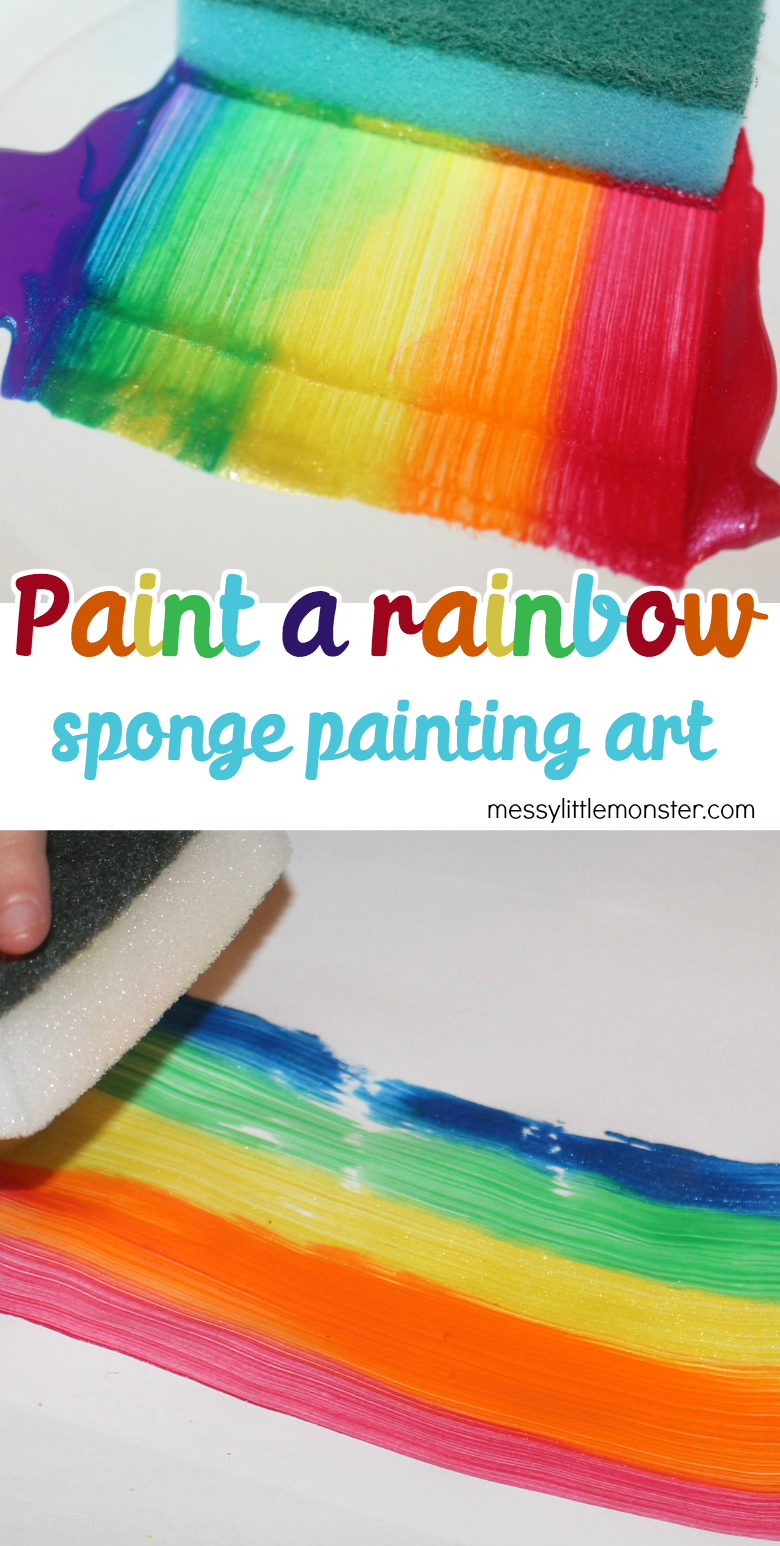 Paint a rainbow sponge painting art. A fun rainbow activity for toddlers and preschoolers.