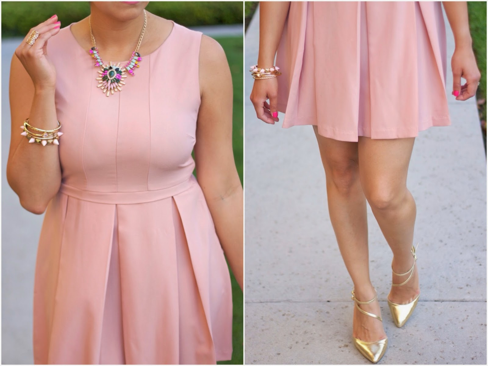Pink with Gold Accessories, Blush with gold accessories, ASOS gold pointed shoes