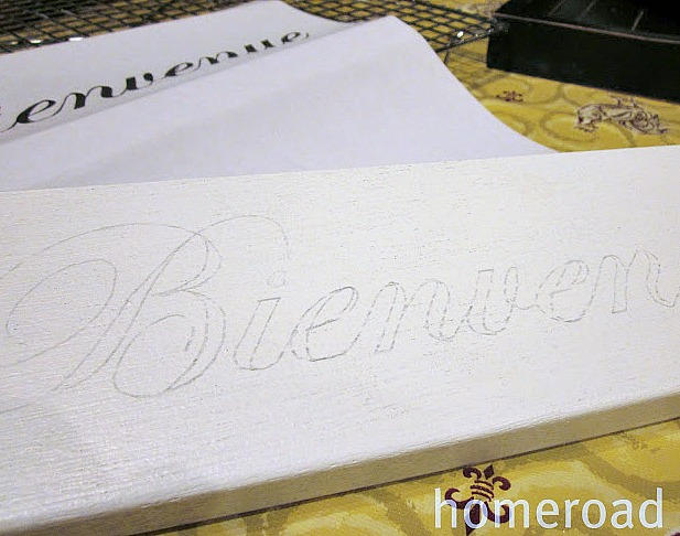 Transfer method to transfer printed words to wood