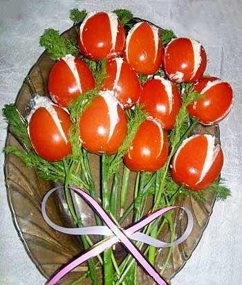 помидоры фаршированные сыром и чесноком