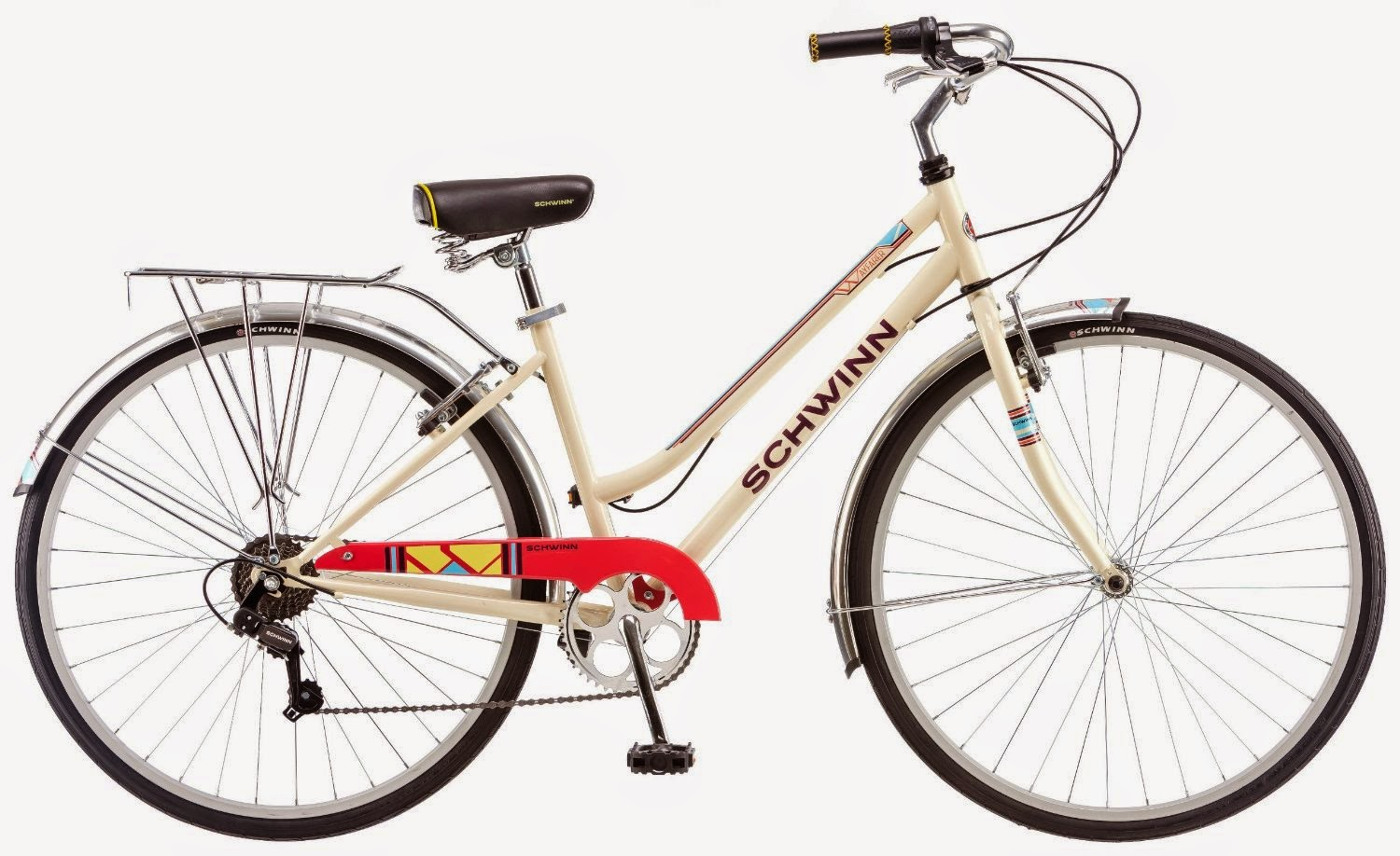 Schwinn Women's Wayfarer 700c Bicycle, review, hybrid bike for commuting, town, cruising & leisure cycling, 7-speed SRAM twist shifters, plus review of Men's Schwinn Wayfarer