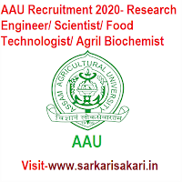 AAU Recruitment 2020- Research Engineer/ Scientist/ Food Technologist/ Agril Biochemist