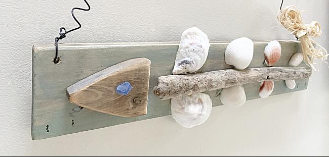driftwood and shell fish bone shape