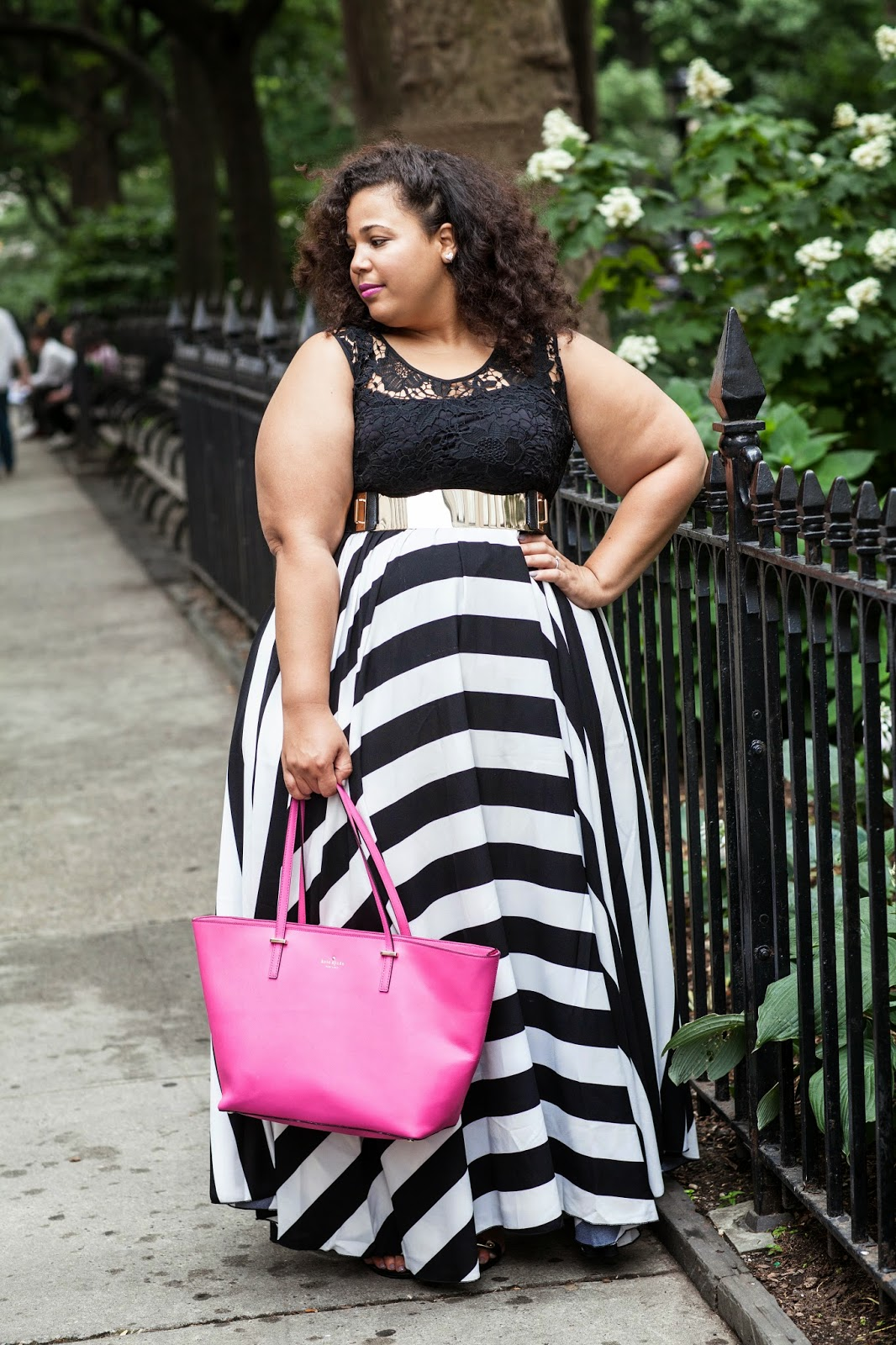 Plus size stripe maxi dress