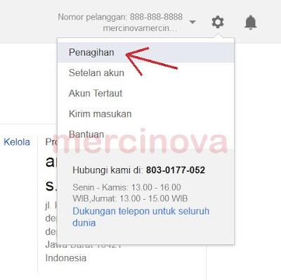 Klik Menu Penagihan Google Adword