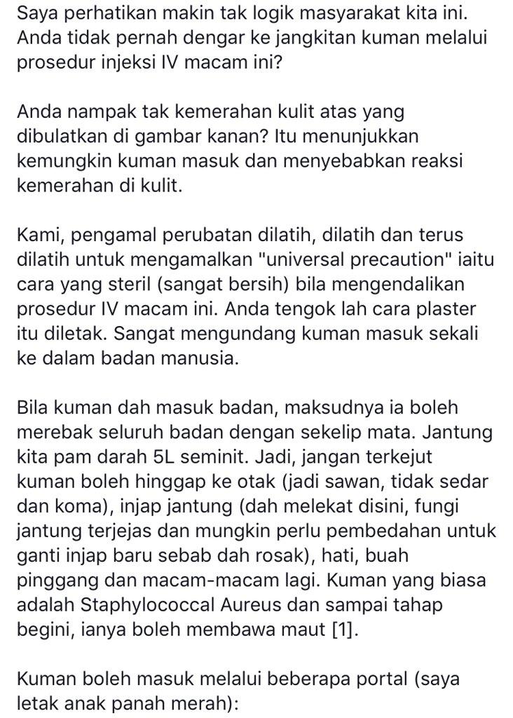 """Jangkitan kuman melalui prosedur injeksi IV"" - Dr. Rafidah"