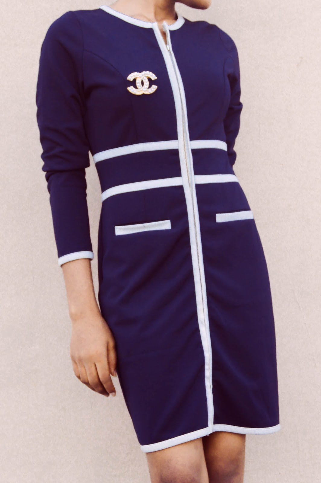 navy blue and white zip up dress with a chanel brooch, oncedarplanet, Cedar