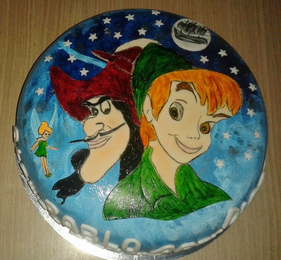 Tarta fondant Peter Pan,Capitan Garfio y Campanilla