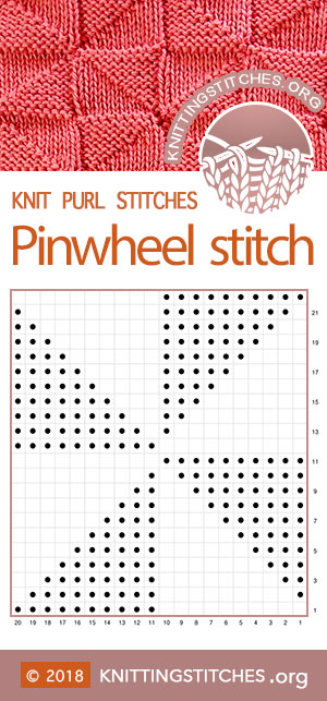 Pinwheels (Windmills) Stitch Chart, Knit Purl Triangles Chart | Knitting Stitch Patterns #knitpurl