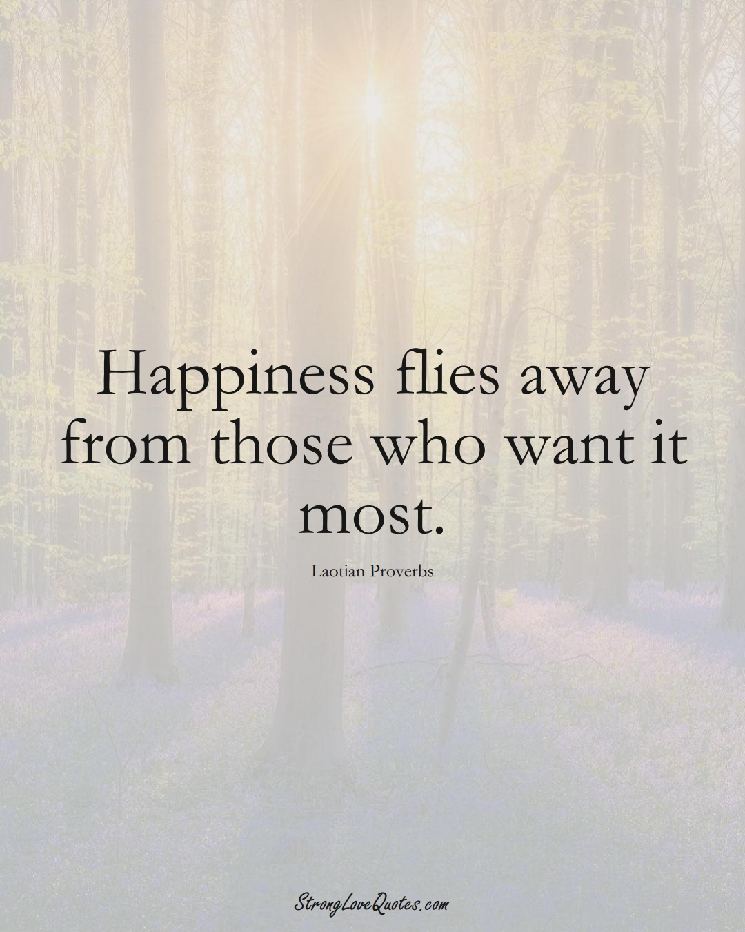 Happiness flies away from those who want it most. (Laotian Sayings);  #aVarietyofCulturesSayings