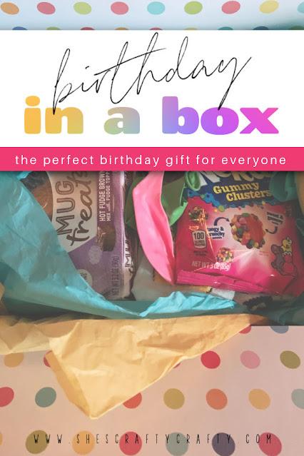 Birthday In A Box gift idea.