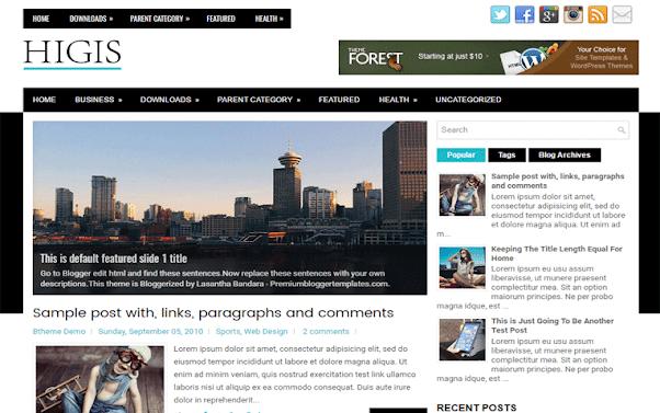 Higis Free Blogger Template