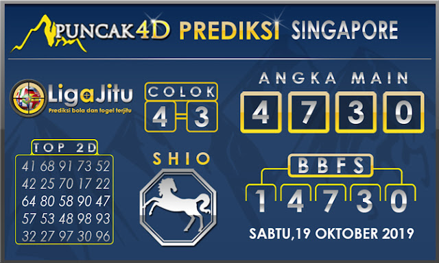 PREDIKSI TOGEL SINGAPORE PUNCAK4D 19 OKTOBER2019