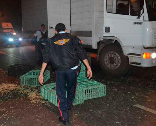 Interceptan y saquean camión de pollos en Valencia