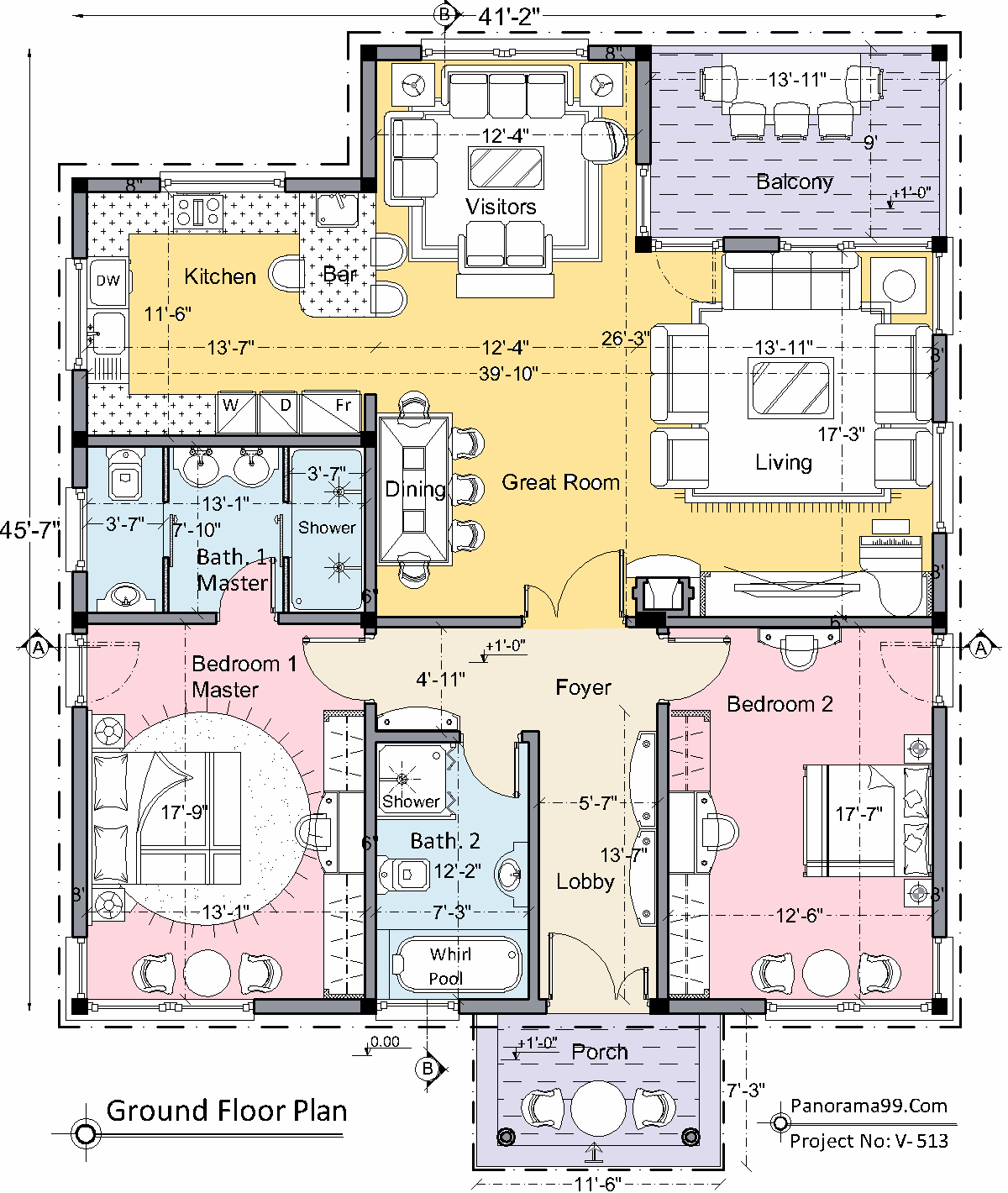 V 513 Bungalow Floor Plan Modern One Story House Plan Custom 2 Bedroom 2 Bathroom Simple Blue Print Tiny Home Ranch
