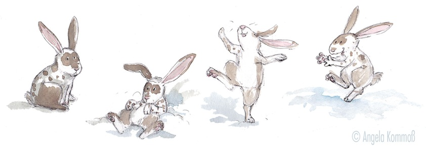 Kinderbuchillustration, Aquarell, Hasen, Schnee, children's book illustration, bunny, snow