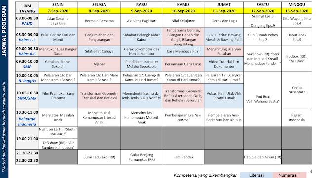jadwal program belajar dari rumah bdr tvri 7 8 9 10 11 12 13 september 2020 tomatalikuang.com