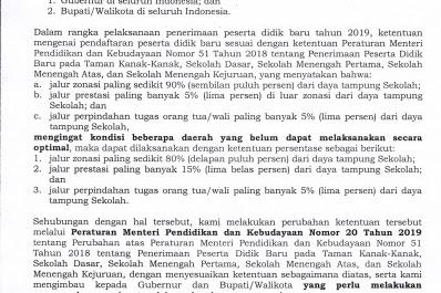 Aturan Baru PPDB Berdasarkan Surat Edaran Mendikbud Nomor 3 2019