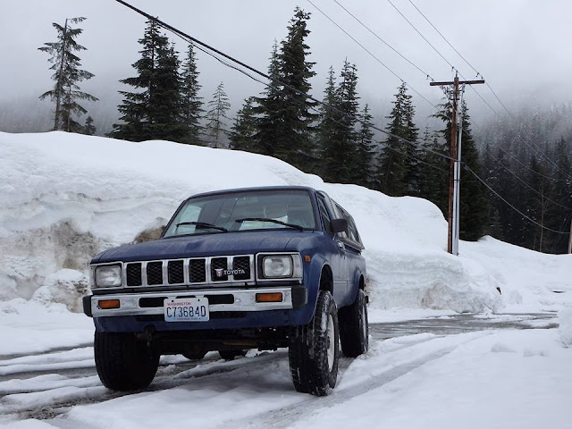 snoqualmie pass, snow, road trip, toyota