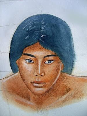 dessin,esquisse,aquarelle,garçon,juan,portrait,crayons de couleur