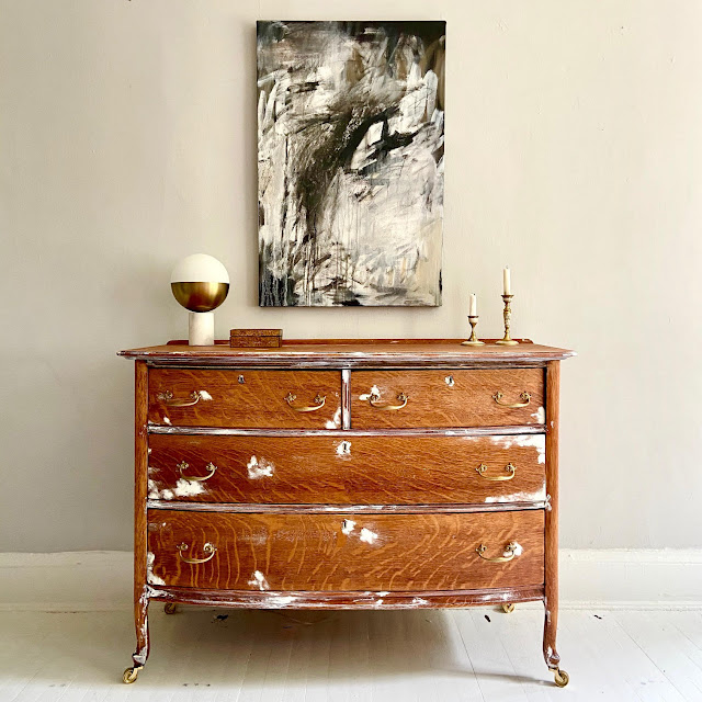 Honeywood's Painted Tiger Oak Chest of Drawers