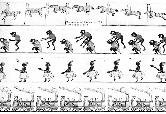 1870 England Zoetrope strips for early animation