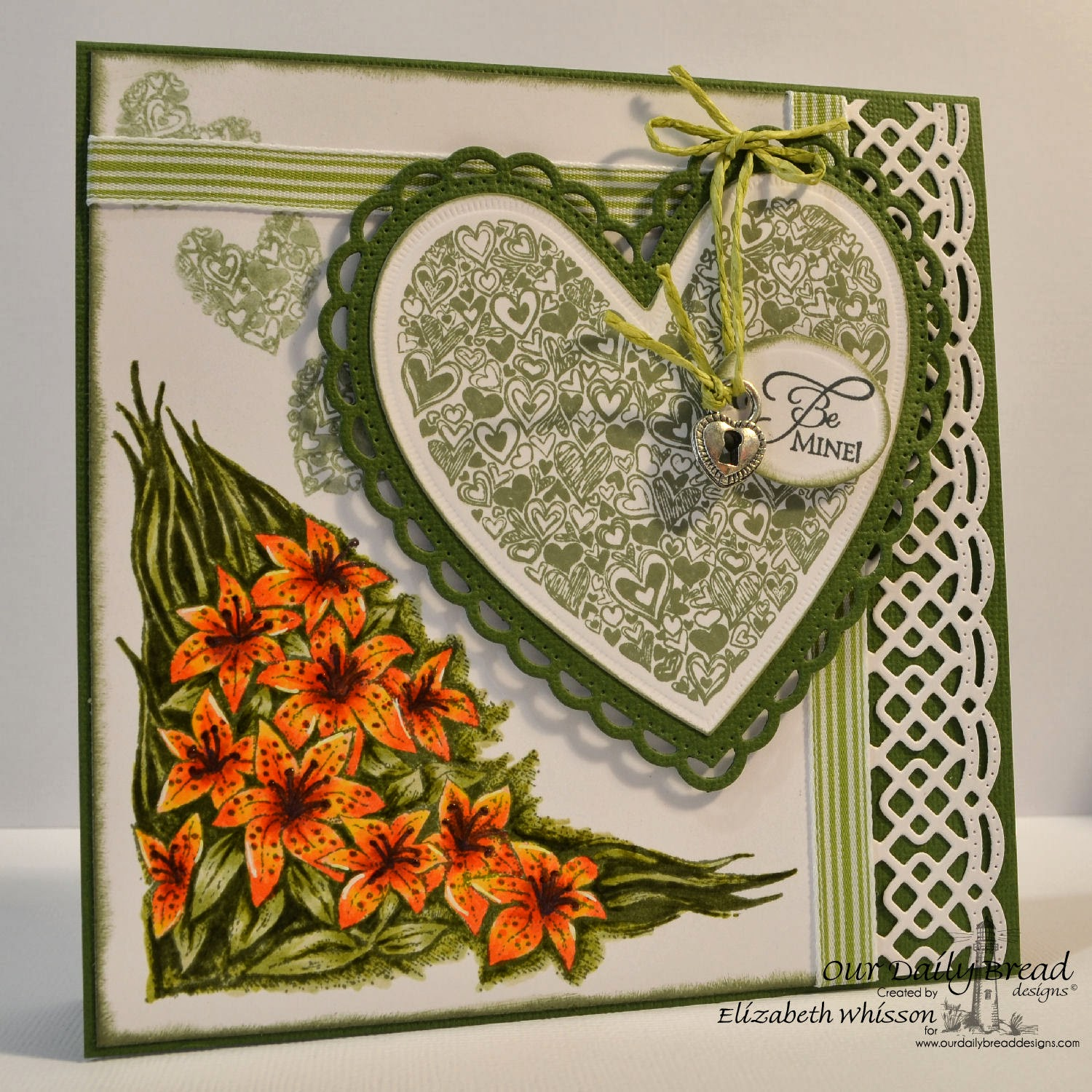 Our Daily Bread Designs, Tiger Lily, Heart of Joy, Be Mine, ODBD Ornate Hearts Dies, ODBD Beautiful Borders Dies, Elizabeth Whisson