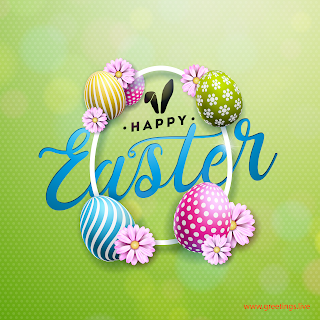 Colorful Easter eggs greetings image with Happy Easter message.