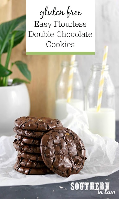 Easy Flourless Double Chocolate Cookies Recipe - grain free, gluten free, nut free