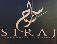 The logo at the Siraj Emirati Restaurant in Dubai, UAE