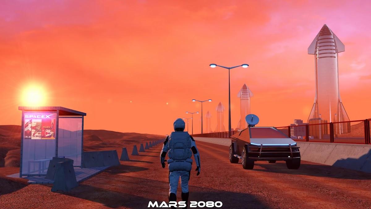 Starman walking near Starship spaceport at Mars Base Alpha by iamVisual