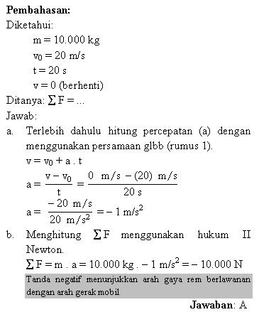 Menghitung percepatan dan gaya rem mobil dengan hukum Newton