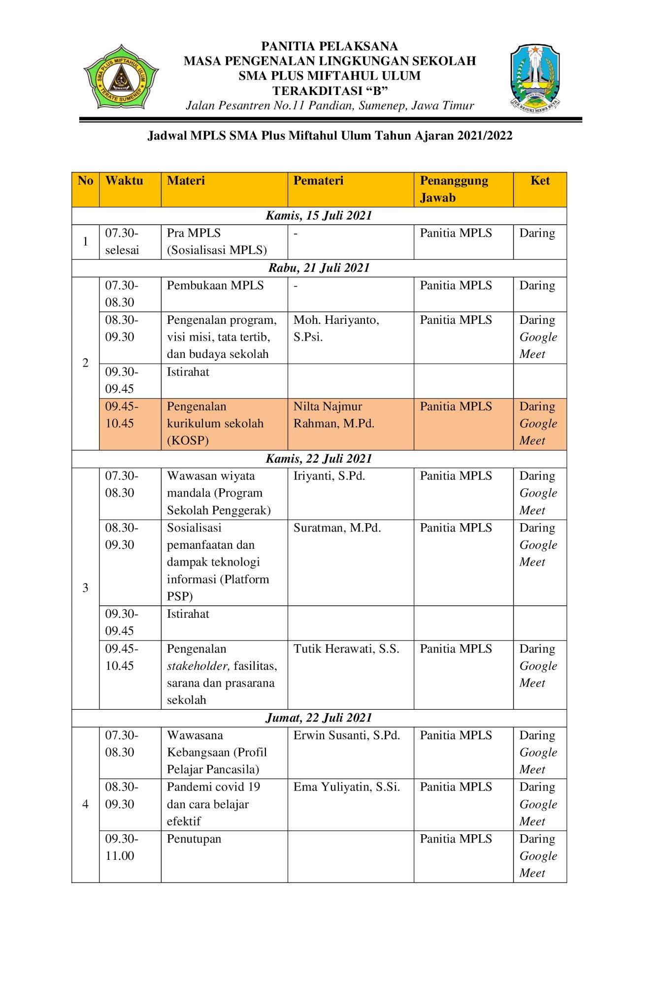 Jadwal MPLS SMA Plus Miftahul Ulum Tahun Ajaran 2021/2022
