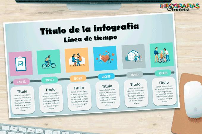 imagen de linea de tiempo hecha en PowerPoint con diseño bonito y creativo
