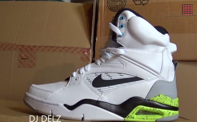 8f2d0e52e16 Here is a detailed look at the Nike Air Command Force White Grey Volt Retro  Pump Sneaker available HERE with more sizes HERE