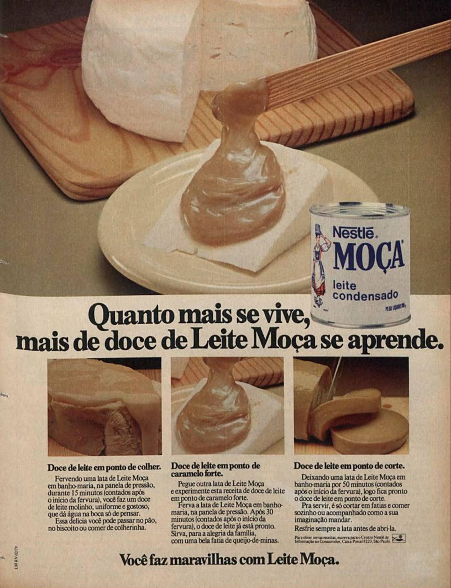 Anúncio antigo do Leite Moça para fazer dele um doce de leite