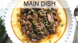 Image of a bowl of polenta with shredded beef, a recipe index link to Main Dish page.