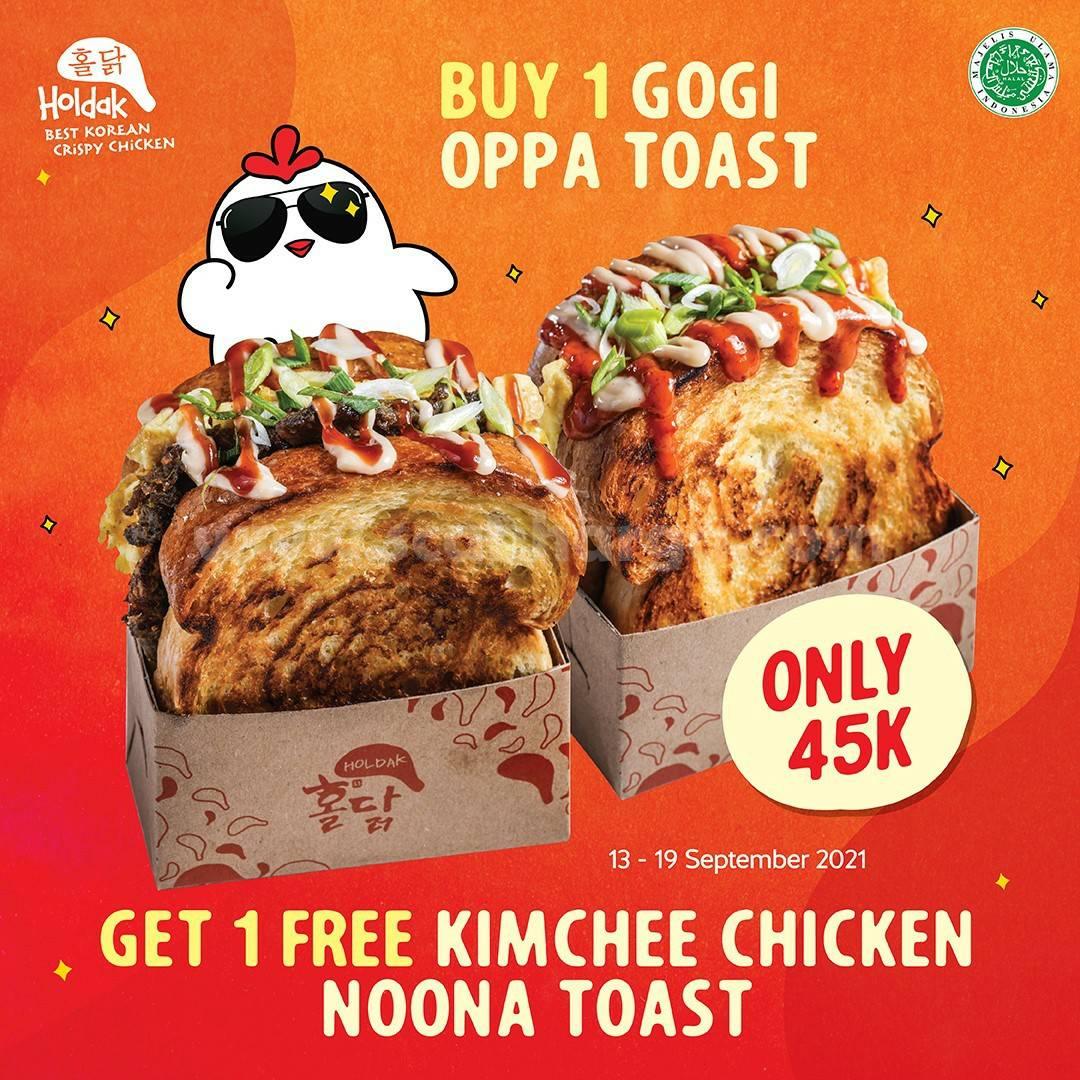 Promo HOLDAK BELI 1 Gogi Oppa Toast GRATIS 1 Kimchee Chicken Noona Toast
