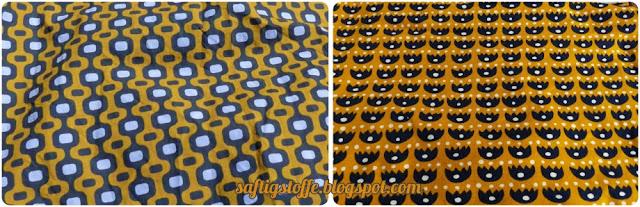 Baumwollstoff und Jerseystoff in gelb mit Retro-Muster